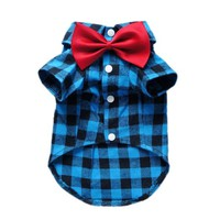 Soft Casual Dog Plaid Shirt Gentle Dog Western Shirt Dog Clothes Dog Shirt + Dog Wedding Tie