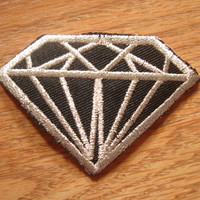 Diamond Black & Silver Iron On patch, Applique, Sewing patch