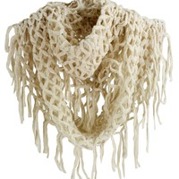 SF392-2 NY Deal Knit Solid Color Infinity Loop Scarf with Fringe, Ivory