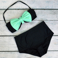 Grenada Beach Big Mint Bow High-Waist Bikini