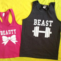 Disney Beauty & The Beast Couples Tank Tops V2 Pink and Charcoal Gray (color)