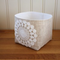 linen and lace storage bin small by Tuuni on Etsy