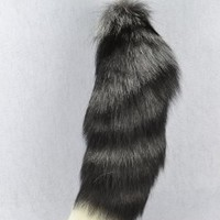 "Extra Large Silver Fox Tail Natural Color 18"" K94"