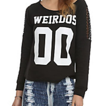 Weirdos Black Mesh Sleeve Pullover