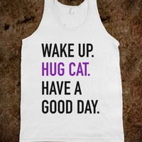 WAKE UP HUG CAT HAVE A GOOD DAY TANK TOP PURPLE BLACK (IDA020309)