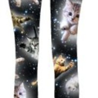 Cats Flying Through Space Cute Kitty Leggings