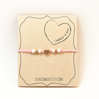 Heart bracelet, love bracelet, pink bracelet with heart charm, gift for her, i believe in love