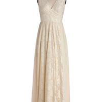 ModCloth Boho Long Sleeveless Maxi CrC(me de la BohC(me Dress