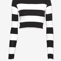 Nadia Tarr EXCLUSIVE Striped Crop Long Sleeve Top-Knits-Tops-Clothing-Categories- IntermixOnline.com