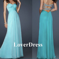 Open Back Prom Dress, Sexy Prom Dress, Sea Blue Prom Dress, Long Prom Dress, Corset Prom Dress, A Line Chiffon Prom Dress