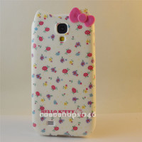 Cute flower Hello Kitty bow TPU Case silicone Cover For Samsung Galaxy S4 i9500