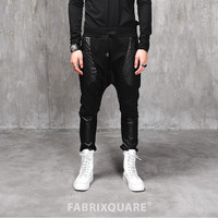 Drop Crotch Dark Quilted Leather Pocket Jersey Pants