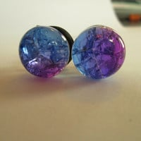 Pink, Purple and Blue Cracked Fractured Glass Plugs - Available in 00g, 1/2 in, and 9/16 in.