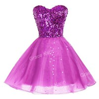 Cheap Stunning Sequins Short Mini Tulle Prom Party Homecoming Dresses Ball Gown