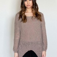 Taupe Hi-Low Knit Sweater