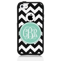 iPhone 5c Case Black Mint Chevron Monogram (Generic for Otterbox Commuter)