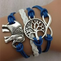 Pooqdo Newest Handmade Infinity Love 8 Pattern Charms Leather Bracelet Anchors Tree Pattern Wristband