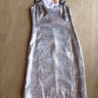 Tory BURCH $425 Silk Liquid Silver Metallic Lame Jacquard Bay Beaded Dress 0