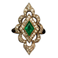 Antique Emerald Diamond Openwork Ring