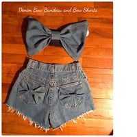 Denim Bow Bandeau Top with matching shorts Set.