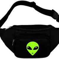 Green Alien Head Waist Fanny Pack Black
