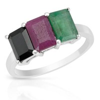 New Sterling Silver Ring 3.68 CTW Ruby , Emerald , Sapphire - Reveal Your Passion: Gemstones Shop - Modnique.com